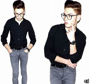 Domi E - Black Shirt Grey Skinny Jeans - Prof. Style | LOOKBOOK