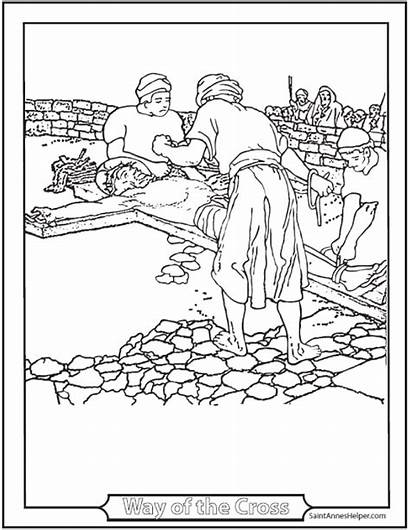 Jesus Coloring Pages Printable Lent Cross Stations