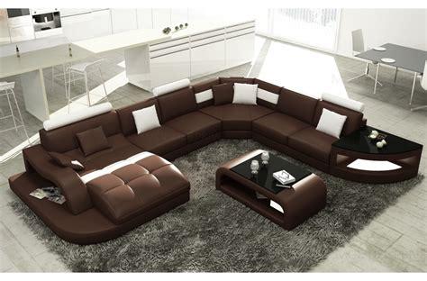 canapé grande taille canapé d 39 angle en cuir italien 8 places nordik chocolat