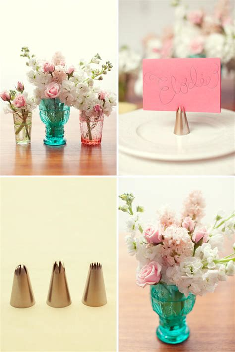 diy cake icing tip place card holders  wed