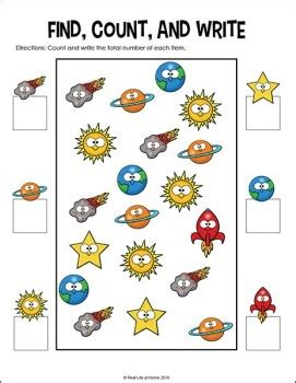 outer space preschool and kindergarten math worksheets packet 925 | space math graphing