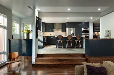 sunken kitchen kitchen contemporary  modern stainless