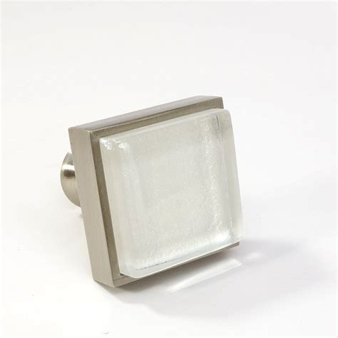 Square Nickel Cabinet Knobs by Glass Brushed Nickel Square Knob Modern Cabinet