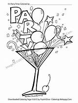 Coloring Printable Cocktail Martini Glass Pages Confetti Recipes Streamer Birthday Balloon Filled Adult Happy Instant Fun Adults Pdf Cards Cocktails sketch template