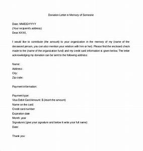 9 donation letter templates free sample example format for Writing a memorial donation letter