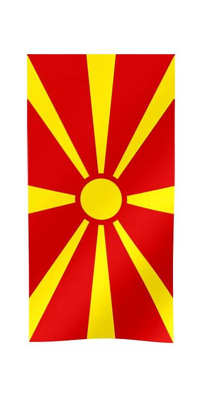 Flag Macedonia North Republic Waving Vertical Macedonian