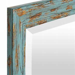 Distressed Turquoise & Gold Mirror, 31x43 in Kirklands