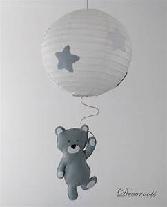 Lustre suspension ours tom gris blanc enfant bebe for Suspension chambre enfant avec matelas viscoline