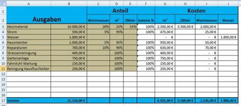 Nebenkostenabrechnung Warmwasser Berechnung by L 246 Sung F 252 R Nebekostenabrechnung In Excel