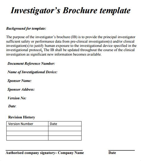 Investigator Brochure Template interior sles