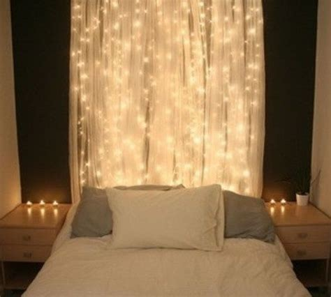 white lights   sheer curtain   bed home