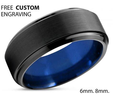 tungsten ring mens black blue wedding band tungsten ring