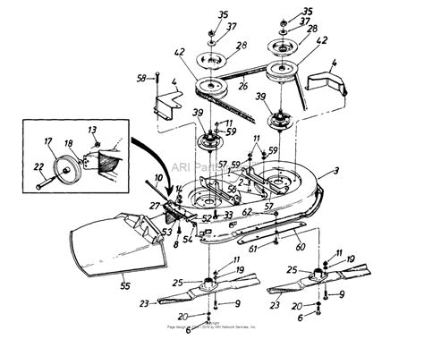 mtd lf  parts diagram  deck assemblyblades