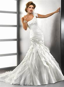 trumpet mermaid one shoulder tiered organza wedding dress With one shoulder mermaid wedding dress