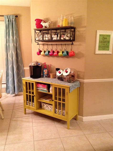 Coffee bar / coffee station do you have a coffee bar/coffee station in your kitchen? My Coffee bar / Breakfast Bar with Keurig and kcups. Shelf from Hobby Lobby, cabinet from T ...