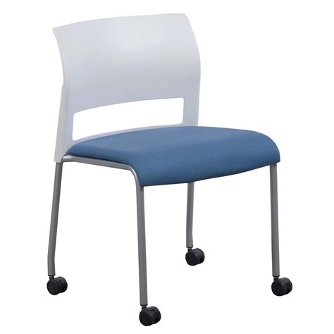 steelcase move used mobile stack chair white and blue