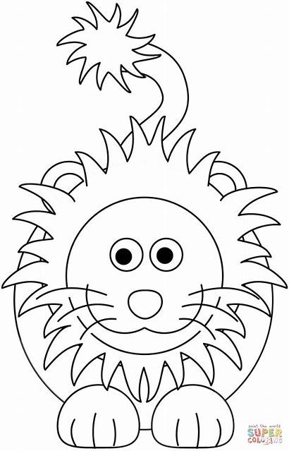 Coloring Lion Cartoon Pages Printable Supercoloring Leone