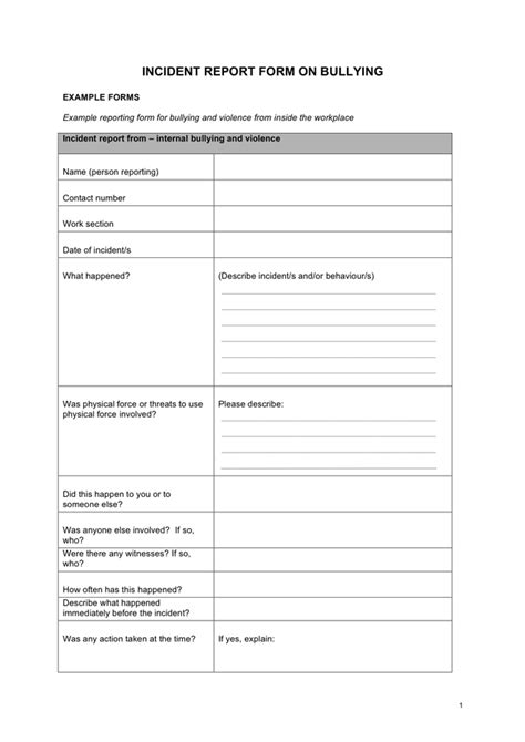 incident report form  bullying  word   formats