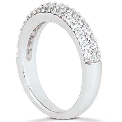 triple row pave diamond wedding ring band in 14k white gold richard cannon jewelry
