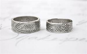 bohemian paisley wedding band ring set wide thick engraved With paisley wedding ring