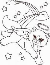 Coloring Frank Lisa Angel Kitty Printable Rainbow Little Cat Animal Animals Unicorn Colouring A4 Sheets Cats Fairy Adult Adults Christmas sketch template