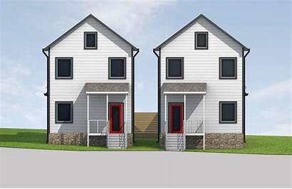 Elevation Nashville Narrow Renderings Pair Houses Custom