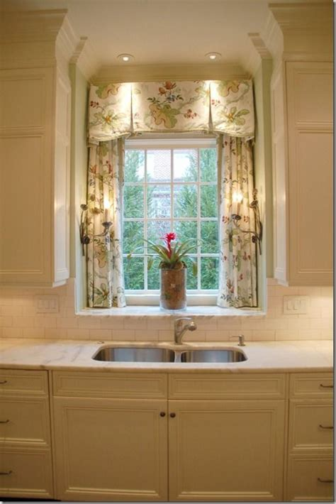 window treatments for kitchen window over sink inverted pleat valance with trim over panels in sink