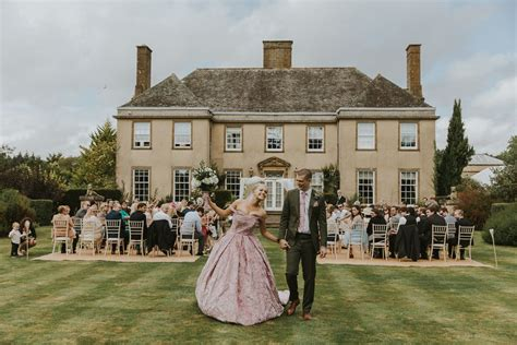 Blush Pink Wedding Dress Outdoor Ceremony Hethfelton House