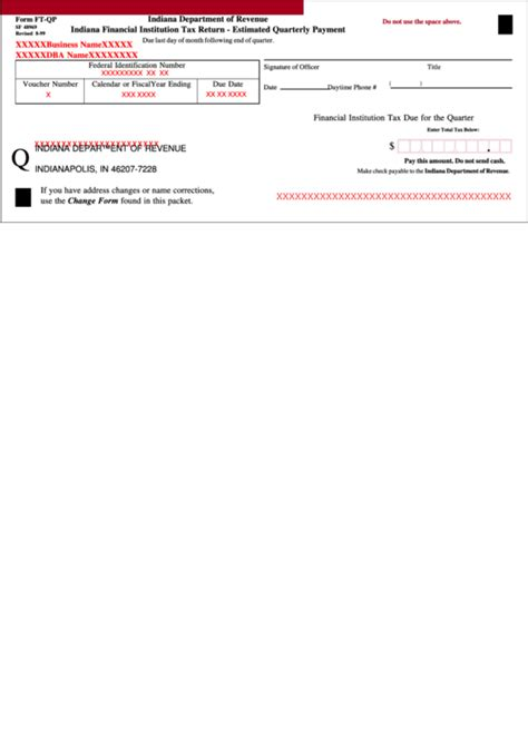 Form Ft Qp Indiana Financial Institution Tax Return Estimated Quarterly Payment Printable
