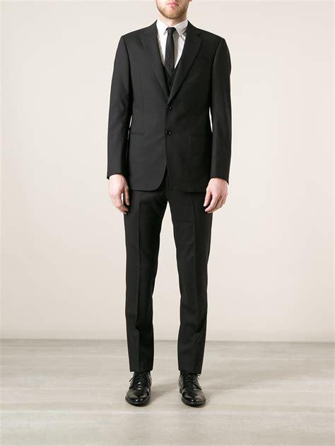 armani classic  piece suit  black  men lyst