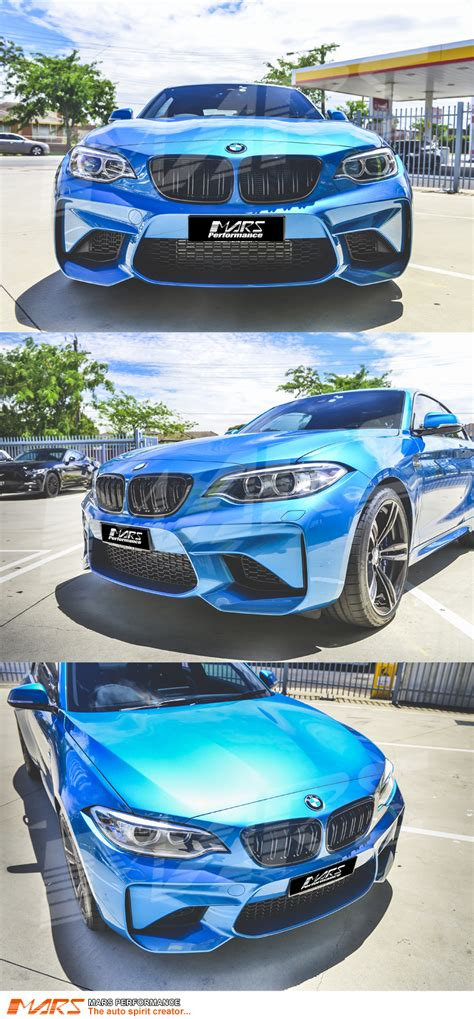 gloss black m2 style front bumper bar kidney grille for bmw 2 series f22 14 16 mars performance