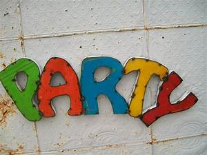Party 3d metal sign decorative wall art colored letters for Colored letters for wall