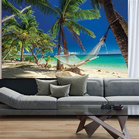 palm tree beach hammock wall mural wallpaper