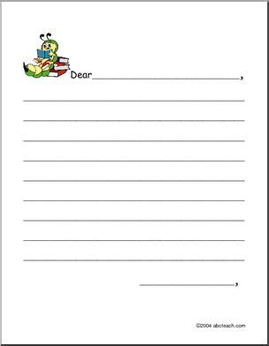 friendly letter form elementary writing paper  abcteach
