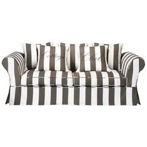 sofa gestreift sofa 3 4 sitzig aus baumwolle grau weiß cottage club maisons du monde