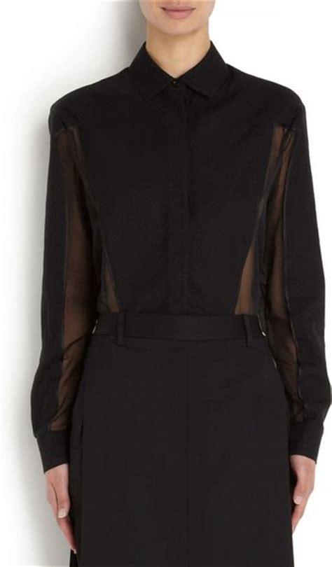 sheer chiffon blouse givenchy sheer silk chiffon blouse in black lyst
