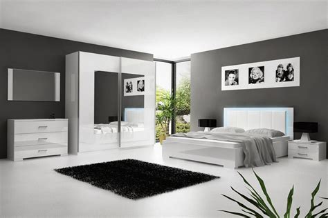 chambre e chambre 224 coucher blanc laqu 233 avec 233 clairage led comforium