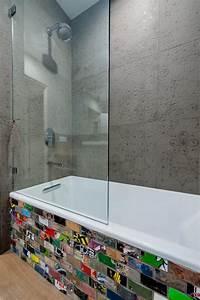 modern bathtub surround with graffiti inspired tile hgtv