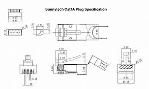 Sunnytech Cat7a Awg22 Rj45 Module Crimp Plug 60 Pcs Pack