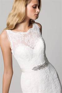 fall lace sleeveless wedding dress with illusion neckline With lace illusion neckline wedding dress