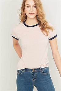 Urban outfitters Urban Outfitters Ringer T-shirt in Pink | Lyst