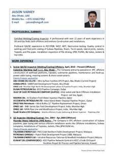 qc welding supervisor resume resume of jaison varkey qa qc inspector welding coating offshore oi