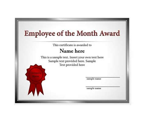Employee Of The Month Certificate Template by Sle Loyalty Award Certificate Template Images