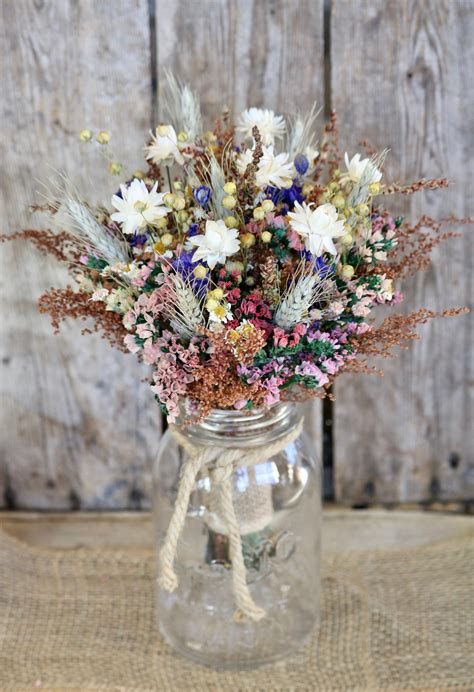 Country Girl Dry Flower Bouquet Fall Rustic Wedding