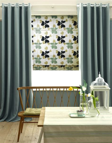 A Stylish Combination  Roman Blinds And Curtains Blinds