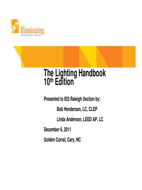 ies lighting handbook ies lighting handbook 10th edition primer slides