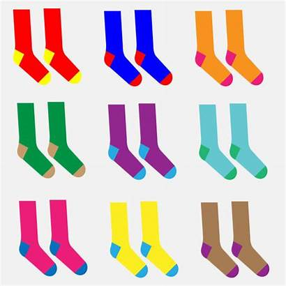 Socks Different Pairs Colorful Vector Illustrations Clip