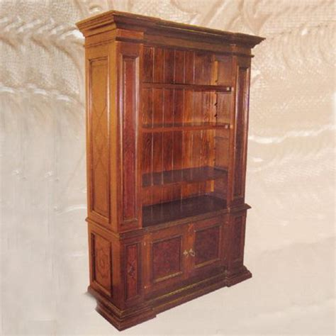 Leather Bookcase by Large Tooled Leather Bookcase