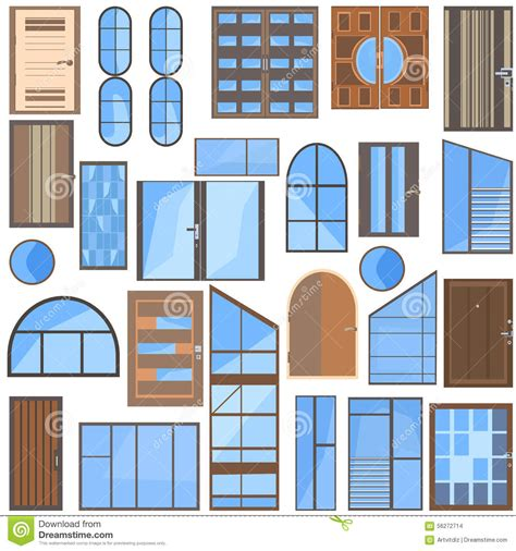 Set Doors, Windows, Glass Stock Vector   Image: 56272714