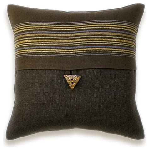 brown lumbar pillow brown striped linen lumbar pillow cover 16 inch